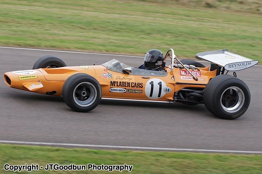 Classic Mclaren Ff1 Racing car originally driven by Dan Gurney