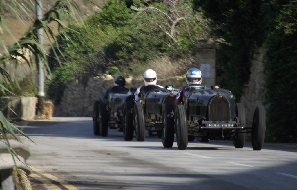 A bevy of Bugattis, eight of these T35 beauties raced flat out all weekend, fantastic entertainment