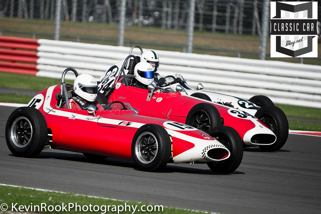 1959 Gemini Mk2 (Richard Ellingworth - 34) and a 1959 Elva 100 (Justin Fleming - 22), 1960 Lola Mk2 (Simon Goodliff -15), 2012 Silverstone Classic