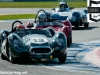 Car 13, Shaun Lynn in the Lister Knobbly leads through Roberts during qualifying for the Stirling Moss Trophy race.