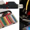 Heat shrink tubing kit includes butane gas torch