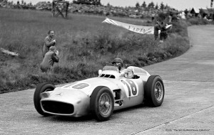 Fangio in action in the Mercedes-Benz W196