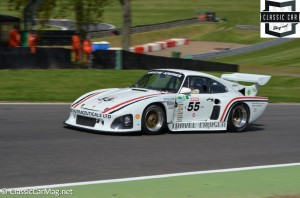 Di Montelera in a Porsche 935 at top of Paddock in the 70s celebration