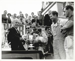 1959 RAC Tourist Trophy. Stirling Moss celebrates his victory