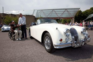 Mark Young with Lord Montagu and his 1958 Jaguar XK150