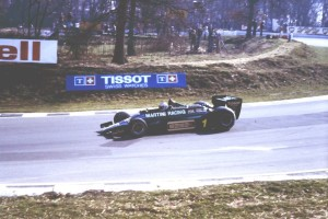 Mario Andretti in a Martin Racing Team Lotus 79 going down Graham Hill at the Daily Mail Race of Champions 14-15 April 1979