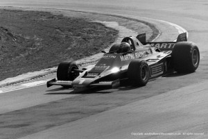 Mario Andretti Lotus 80 exiting Druids Hairpin Brands Hatch during qualifying for the Race of Champions April 1979