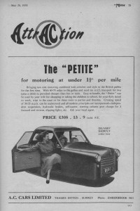 Petite Advert from The Motor Magazine May 1953