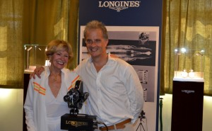 Don Wales and Tonia Bern-Campbell kindly posed for photographers with the 'Longines' display