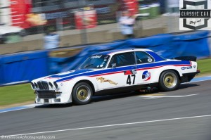 cragg & Nicoll-Jones take the checkered flag Jaguar Broadspeed XJ12C in race two of the 66-85 Touring Car competition in 2014