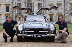 Tiff Needell and Lord Pembroke with Mercedes 300 SL Gullwing