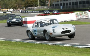 The Jaguar Lightweight E-type exiting the famous Goodwood chicane