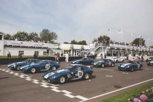All original Shelby Daytona Coupes form up at Goodwood Revival