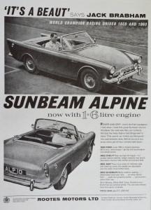 Sunbeam Alpine advertisement the base for the Harrington, if Jack said its good it must be