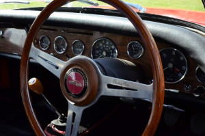 The Le Mans interior provides ample wood and Les Leston steering wheel with signature by Stirling Moss