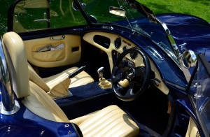 Interior luxury and the contrast of cream leather and body matched blue works very well