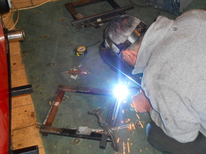The seat bases were rusted in several places so Alan welded in new sections to secure.