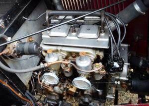 The superb 1087cc motor featuring twin SU carbs, crank driven dynamo minus a fan or belts