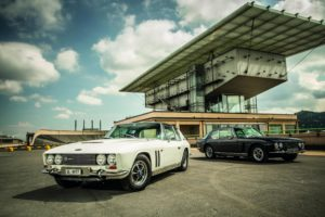 A Jensen Interceptor and FF on top of the famous old Fiat factory