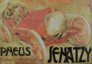 Poster showing Camille Jenatzy winning the 1903 Gordon Bennett Race in his Mercedes Simplex