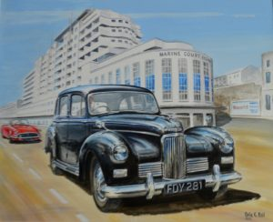 Commissioned to capture a 50s moment Eric C Ball included the landmarks and vehicles involved in John's life