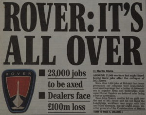 16th April 2005 the end of Rover and all those that came before, another case of 'could have' and 'should have'.
