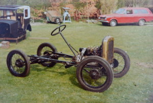 Body removed the rolling chassis received love and attention; note the Escort Estate in the background