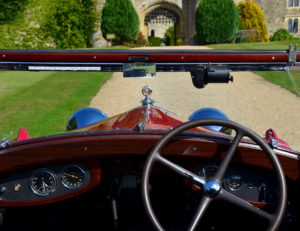 View from the pilot's seat the dash is one curvaceous piece of timber