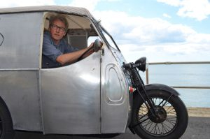 Owner Jon Mills restored his girder-fork van from tip to stern. The earliest versions came with handlebars prior to steering wheel option