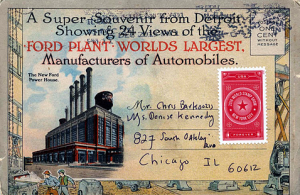 Hundreds of thousands toured the facility at Highland Park, many postcards to relatives and friends including the Prince of Wales who was presented with the 11 millionth Model T in 1924