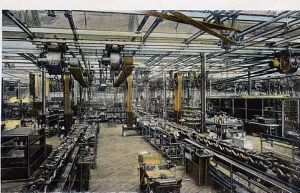 Around 750,000 engines mated with their chassis at Highland Park in 1917 transported along belt driven conveyors; in 2013 Ford looked to install 6 million engines over dozens of plants worldwide