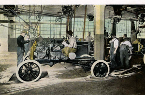 The final part of the production line, starting the Model T for the first time and driving the chassis to the body shop where space allowed constricted stock to just three days manufacturing