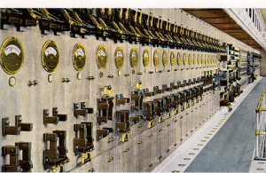 Purpose built Power House at Highlands was at the time the worlds largest direct current control board, minus mains electricity the plant created its own via gas-steam engines with a 40-ton flywheel