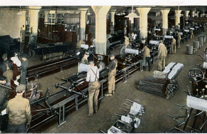 The final assembly line, three workers per station although many employees would leave the great wages and benefits, unable to continue with the repetitive nature of mass production