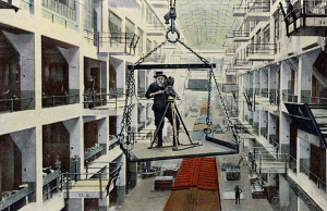 Ford employed 'movie makers' to record their achievements, many were produced and before 'health and safety' came to be, their favourite filming position was swinging 6 stories high via the crane