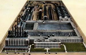 Over 56 acres with 75 acres under roof, the average number of employees was 42k in 1917 but plans were already in place to double the staff and the output.