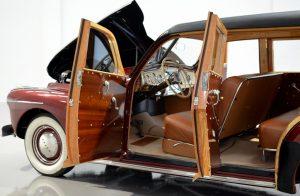 Entry via mahogany exterior and birch interior panels over ash framed doors