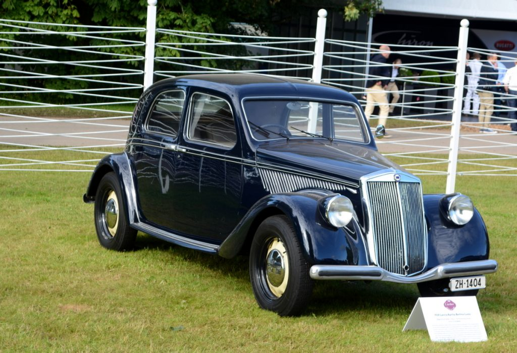 1938 Lancia Aprilia Berlina Lusso thought to be the first production car where the aerodynamics were wind tunnel tested and the last model Vincenzo Lancia worked on prior to his early death