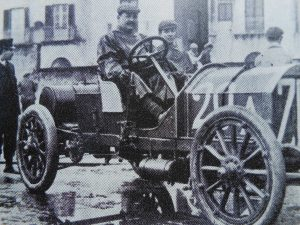 Lancia behind the wheel of Fiat's 28-40HP racer at the Targa Florio in 1907, after 8 hours he finished 2nd just 11 minutes behind Nazzaro also in a Fiat