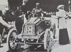 Louis Renault visiting a check point but a collision with Baron de Caters Mors would end his event