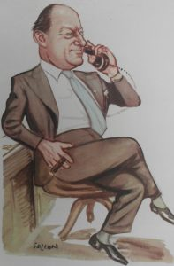 Caricature of the business man Whitney Straight complete with cigar