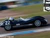 The Lola Mk1 of Tobler accelerates out of Roberts during qualifying for the Sterling Moss Trophy race.