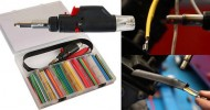 Heat shrink tubing kit includes butane gas torch